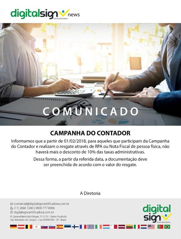 Comunicado: Campanha Contador